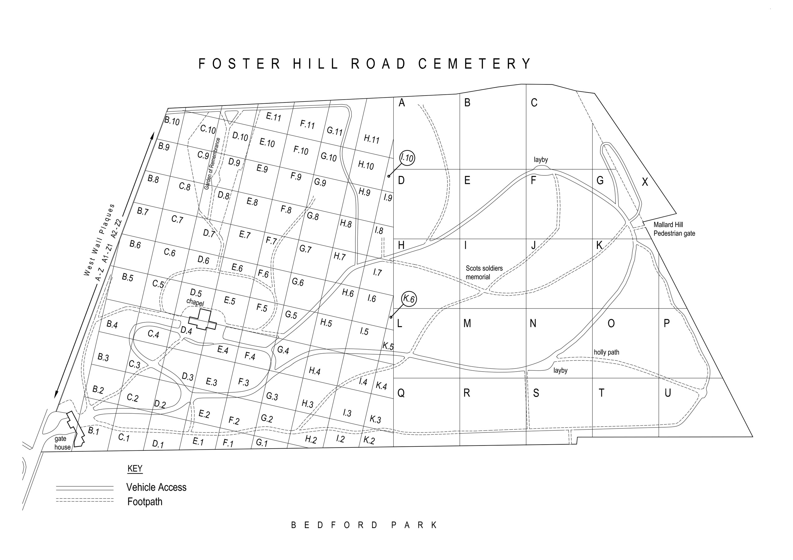 Foster Hill Road Cemetery Location Grid